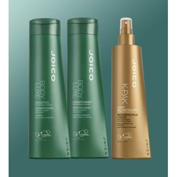 Kit Triplo Joico Body Luxe e K-Pak para Reconstruir e Avolumar Cabelos Finos (Shampoo + Condicionador + Reconstrutor)
